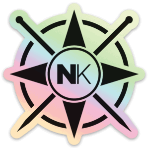 Nomadic Knits vinyl sticker logo sticker black on holographic silver