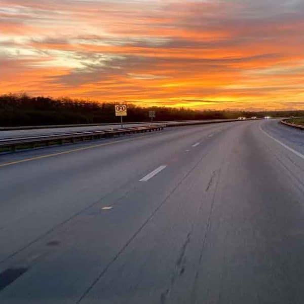 A sunset over a highway taken for Nomadic Knits a creative knitting magazine