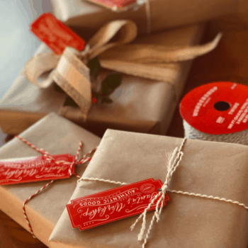 Gifts wrapped in paper with labels