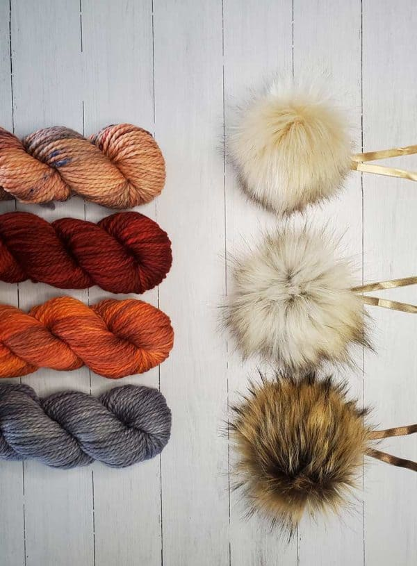 indie dyed Why Knot yarn with ikigai pom pom