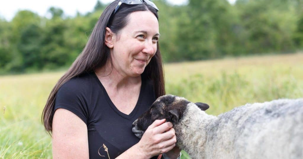 Melissa with sheep