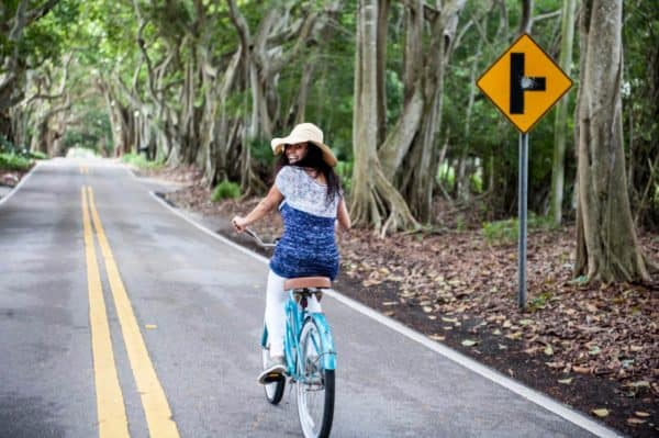 Brunette woman riding a beach cruiser bicycle on a road lined with banyan trees. She is wearing white pants and a knitted short sleeve sweater. The sweater is navy with pink flecks on the bottom and white with pink and blue flecks on top. The knitting pattern can be found in issue one of Nomadic Knits creative knitting magazine