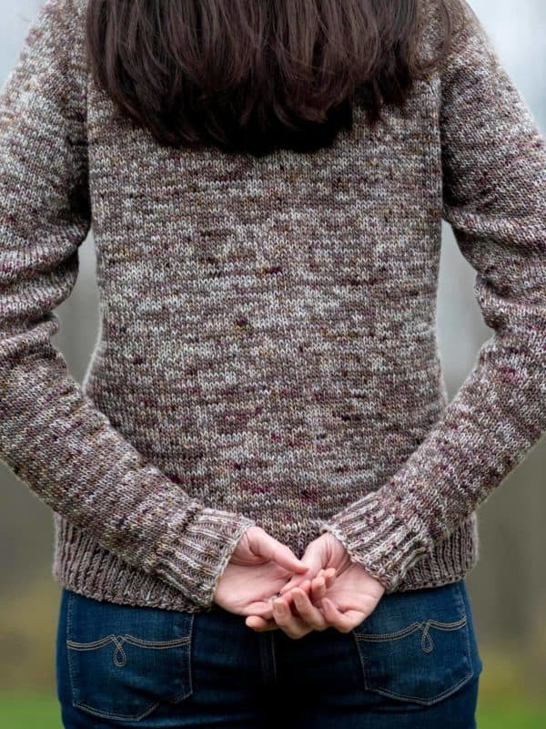 Seneca sweater being worn outside