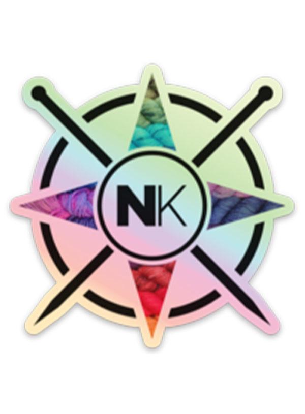 Nomadic Knits vinyl logo sticker yarn on holo