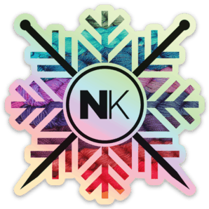 Nomadic Knits vinyl logo sticker yarn snowflake on holo