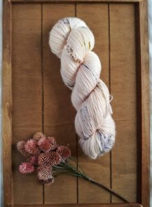 Hank of pale pink yarn with blue speckles, displayed on a wooden surface with a bouquet of small pine cones. The indie yarn dyer is Aquarius Make and is the colorway shown in the Mackinac Mitts knitting pattern, found in Nomadic Knits creative knitting magazine