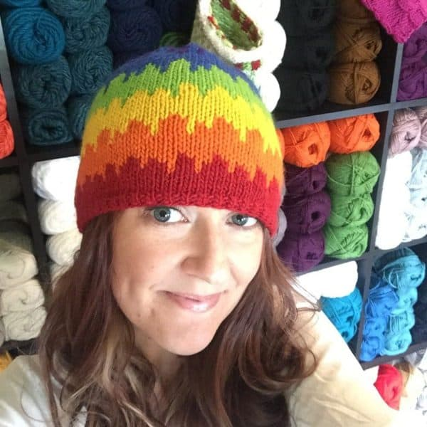Becky Beagell wearing knit hat