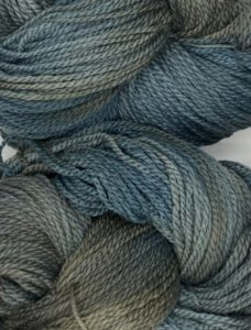 Deep grey - slate blue indie dyed yarn from Briar Rose, in Sonoma base; as used in Petoskey knitting pattern by Ann Budd, found in Nomadic Knits creative knitting magazine.