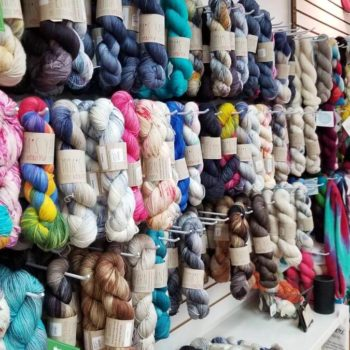 Wall of yarn at Four Purls