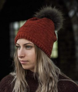 chunky hat with pom pom