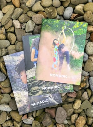 Issues Three, Four, and Five covers of Nomadic Knits knitting magazine