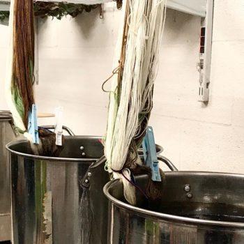 Pots of yarn dye