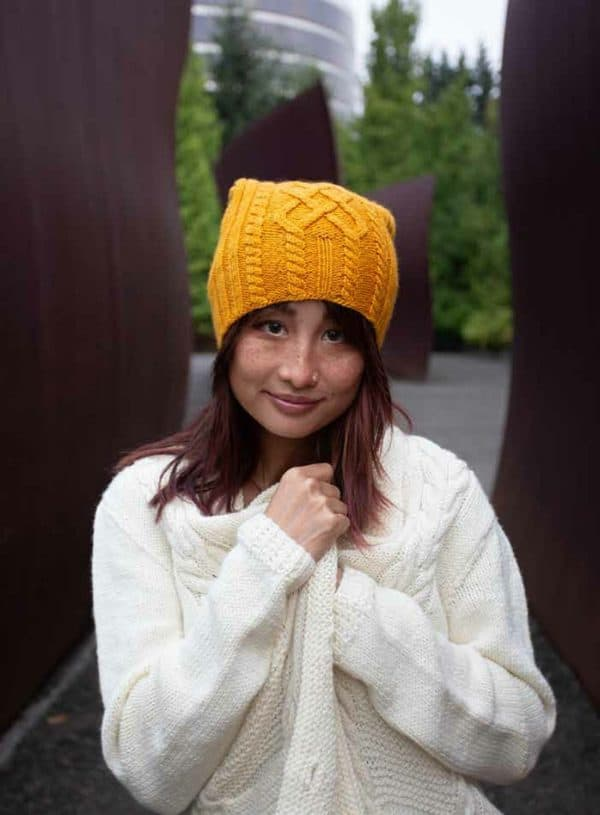 washington cabled cardigan and hat indie dyed yarn