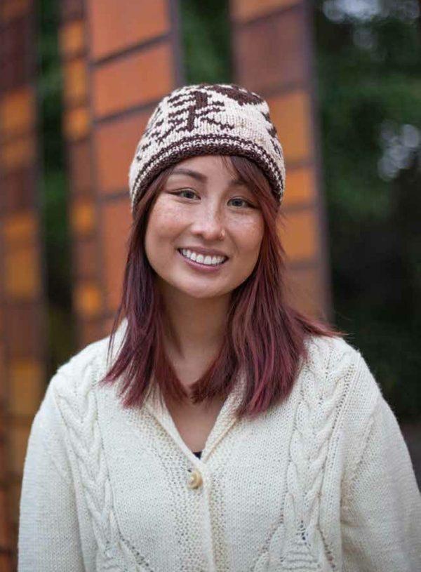washington kanji hat knitting pattern cabled cardigan indie dyed yarn