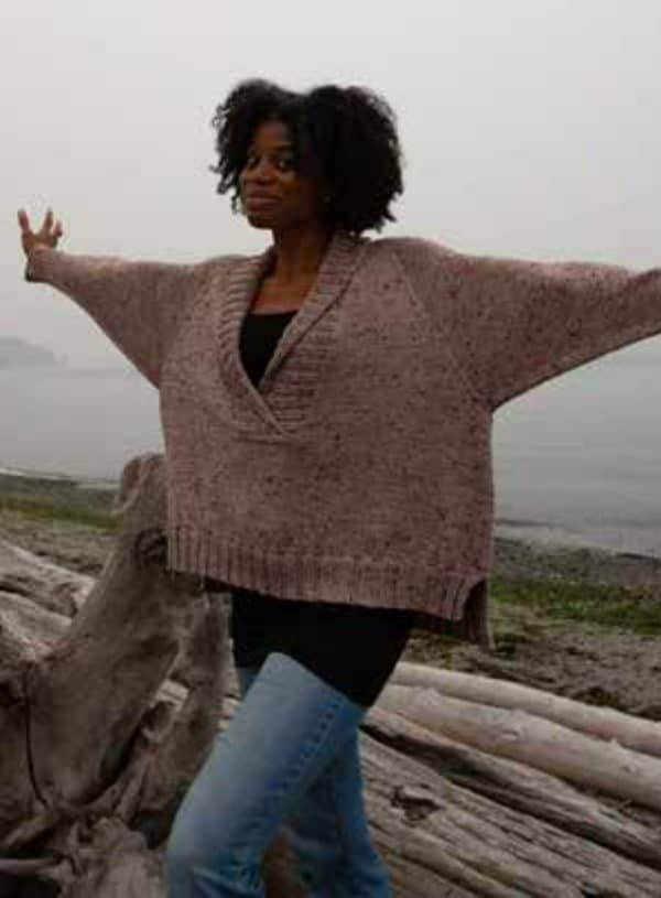 washington oversized shawl collar pullover knitting pattern indie dyed yarn