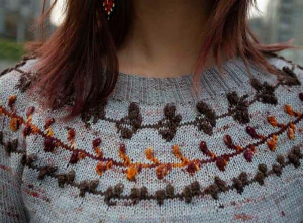 washington pullover tristen molina serial knitters indie dyed yarn yoke fair isle bobbles
