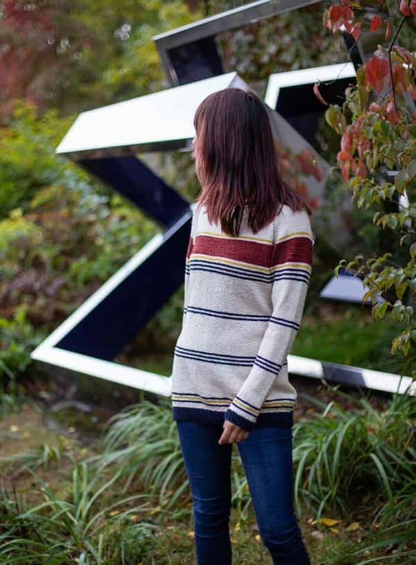 washington striped pullover knitting pattern indie dyed yarn