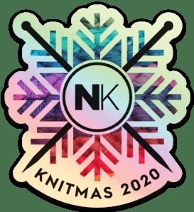 Nomadic Knits vinyl logo sticker knitmas on holo